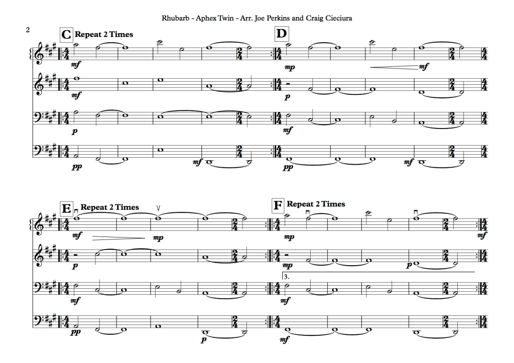 All Music Chords skylark sheet music : Rhubarb – Aphex Twin – Transcription – JOE PERKINS MUSIC