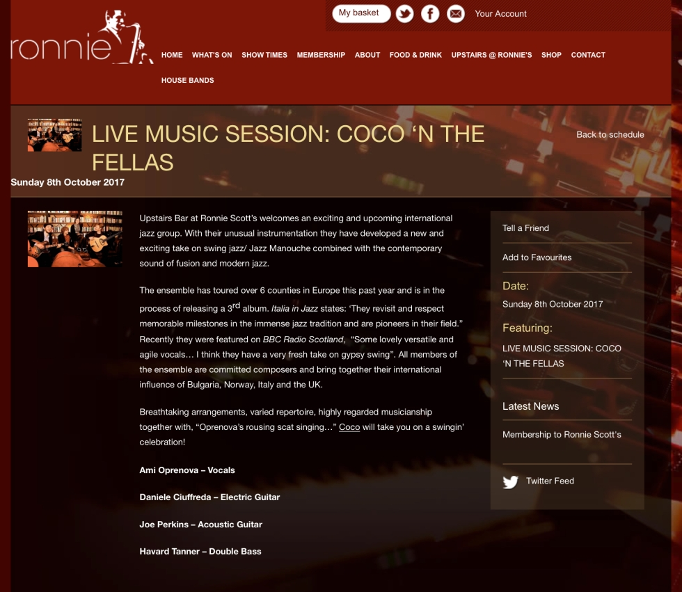 Coco 'n' the Fellas - Ronnie Scott's